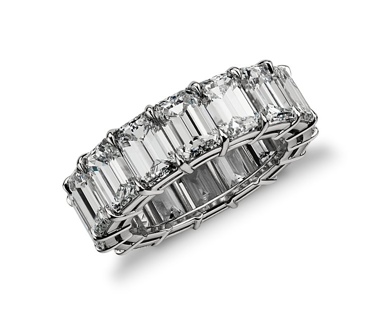 Beautiful Wedding Emerald Cut Diamond Eternity Ring platinum made
