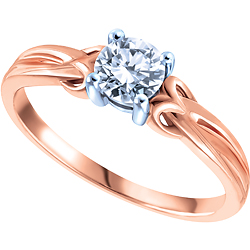 latest wedding fashion trend, White and Rose Gold Diamond Solitaire Engagement Ring